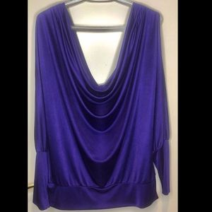 BCBG Cowl Neck, Open Shoulder, Purple Sateen Shirt
